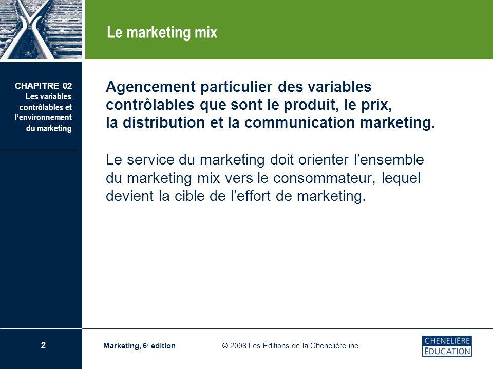 2 CHAPITRE 02 Les variables contrôlables et lenvironnement du marketing Marketing, 6 e édition © 2008 Les Éditions de la Chenelière inc. Agencement pa