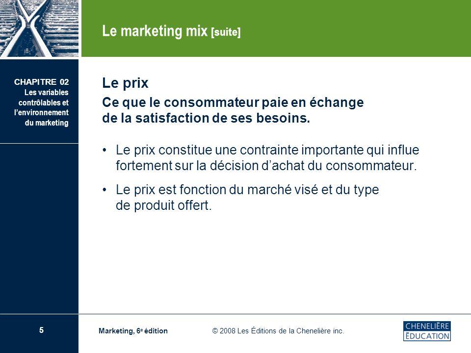 5 CHAPITRE 02 Les variables contrôlables et lenvironnement du marketing Marketing, 6 e édition © 2008 Les Éditions de la Chenelière inc. Le prix Ce qu