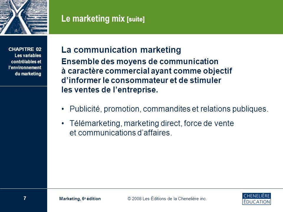 7 CHAPITRE 02 Les variables contrôlables et lenvironnement du marketing Marketing, 6 e édition © 2008 Les Éditions de la Chenelière inc. La communicat