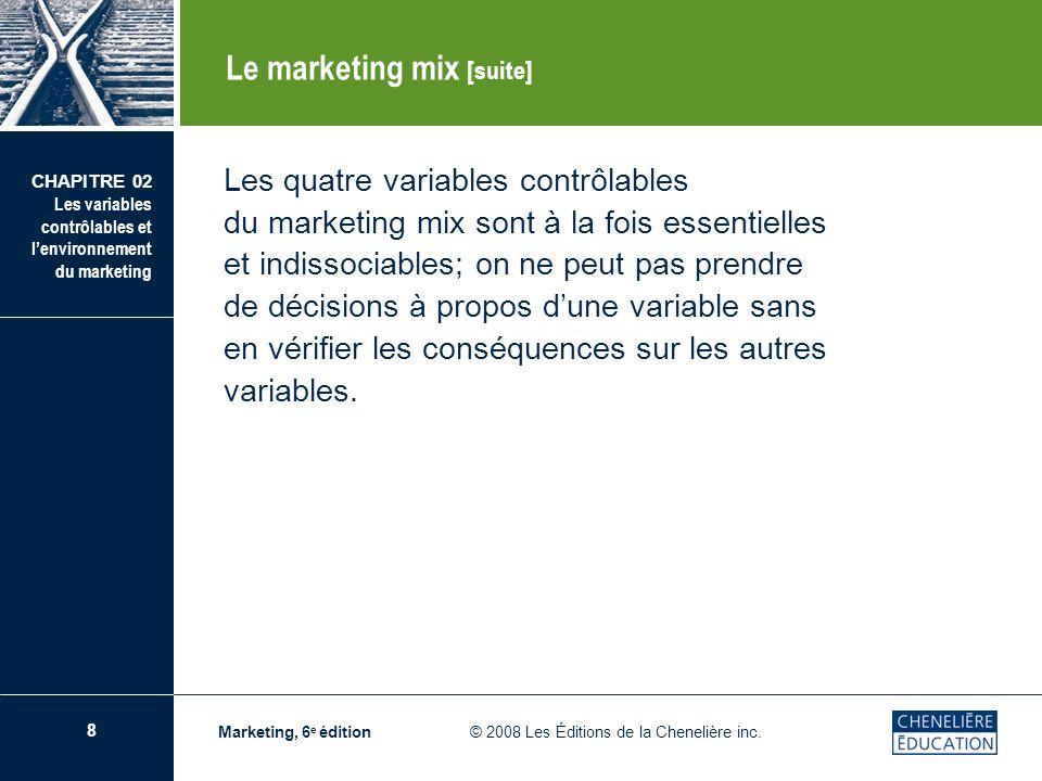 8 CHAPITRE 02 Les variables contrôlables et lenvironnement du marketing Marketing, 6 e édition © 2008 Les Éditions de la Chenelière inc. Les quatre va