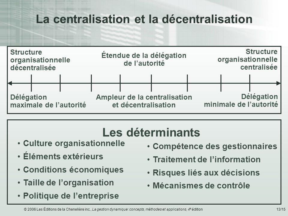 © 2006 Les Éditions de la Chenelière inc., La gestion dynamique: concepts, méthodes et applications, 4 e édition13/15 La centralisation et la décentra