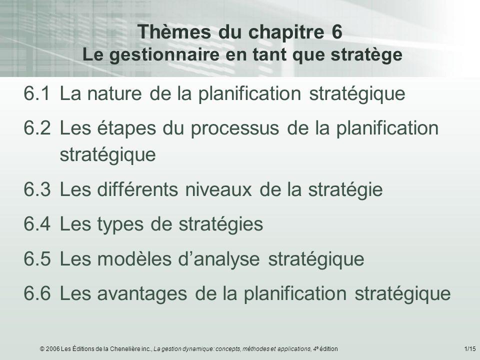 © 2006 Les Éditions de la Chenelière inc., La gestion dynamique: concepts, méthodes et applications, 4 e édition1/15 Thèmes du chapitre 6 Le gestionna