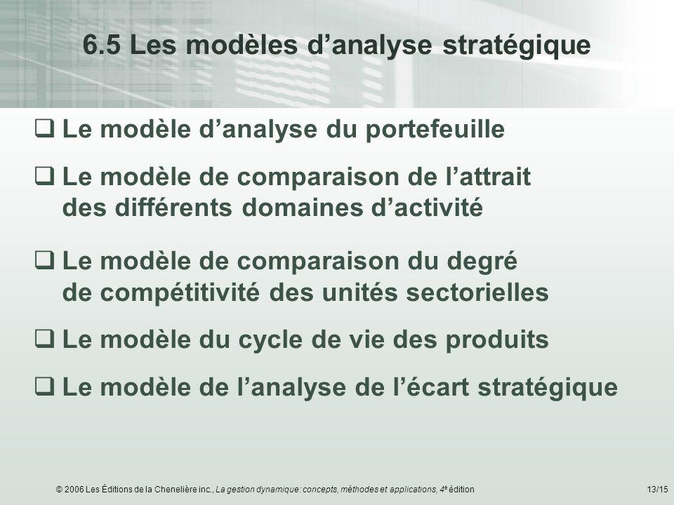 © 2006 Les Éditions de la Chenelière inc., La gestion dynamique: concepts, méthodes et applications, 4 e édition13/15 6.5 Les modèles danalyse stratég