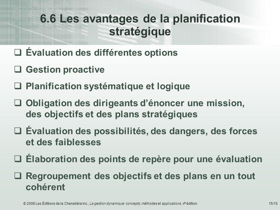 © 2006 Les Éditions de la Chenelière inc., La gestion dynamique: concepts, méthodes et applications, 4 e édition15/15 6.6 Les avantages de la planific