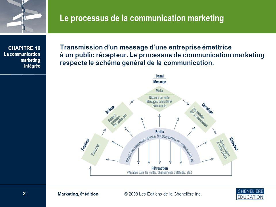 3 CHAPITRE 10 La communication marketing intégrée Marketing, 6 e édition © 2008 Les Éditions de la Chenelière inc.