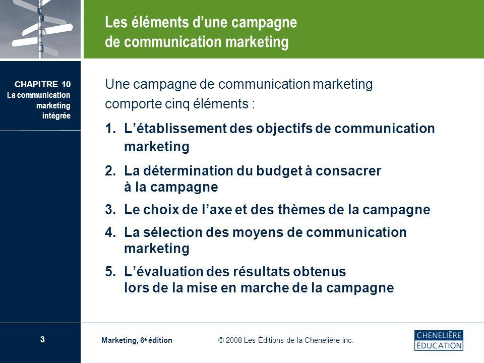 4 CHAPITRE 10 La communication marketing intégrée Marketing, 6 e édition © 2008 Les Éditions de la Chenelière inc.