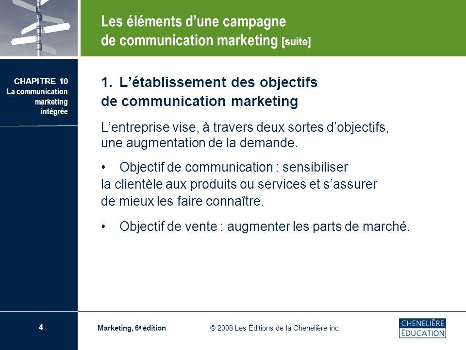 5 CHAPITRE 10 La communication marketing intégrée Marketing, 6 e édition © 2008 Les Éditions de la Chenelière inc.