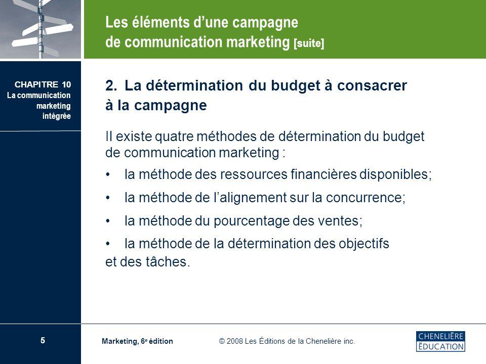 6 CHAPITRE 10 La communication marketing intégrée Marketing, 6 e édition © 2008 Les Éditions de la Chenelière inc.