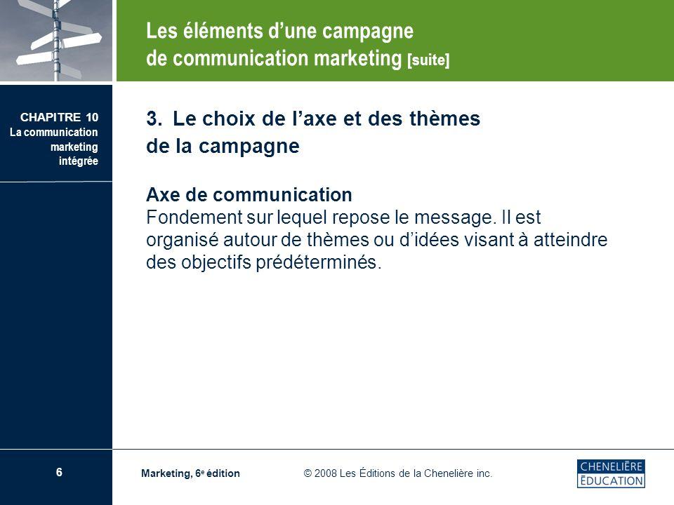 7 CHAPITRE 10 La communication marketing intégrée Marketing, 6 e édition © 2008 Les Éditions de la Chenelière inc.