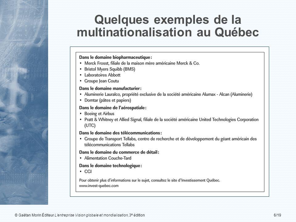 © Gaëtan Morin Éditeur Lentreprise Vision globale et mondialisation, 3 e édition6/19 Quelques exemples de la multinationalisation au Québec