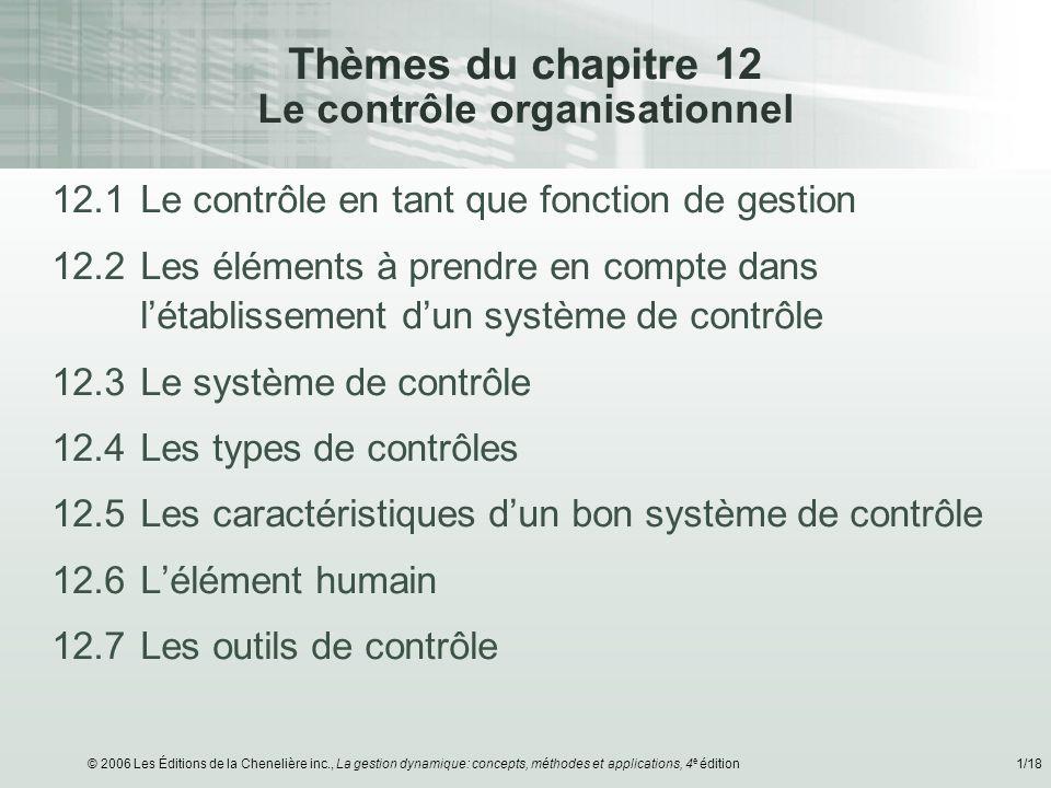 © 2006 Les Éditions de la Chenelière inc., La gestion dynamique: concepts, méthodes et applications, 4 e édition1/18 Thèmes du chapitre 12 Le contrôle