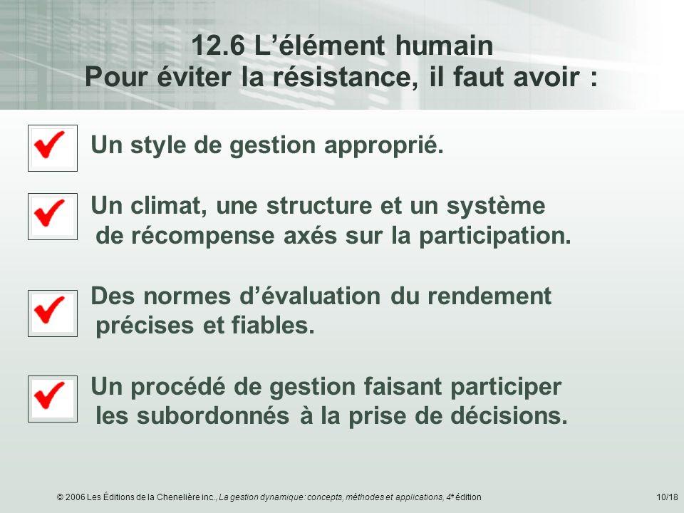 © 2006 Les Éditions de la Chenelière inc., La gestion dynamique: concepts, méthodes et applications, 4 e édition10/18 12.6 Lélément humain Pour éviter