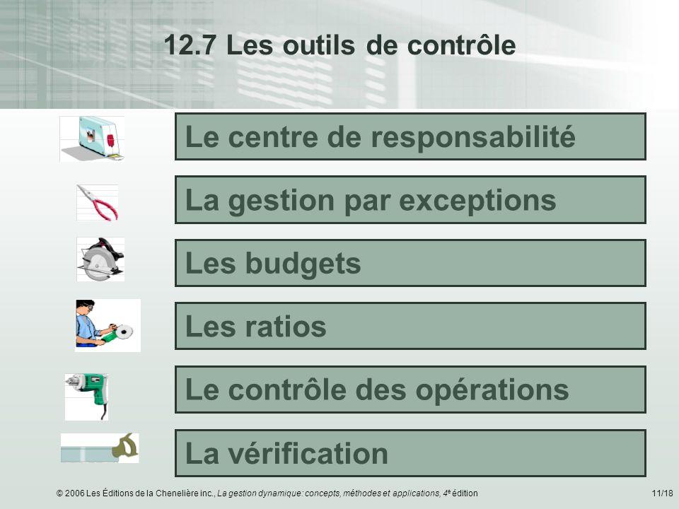 © 2006 Les Éditions de la Chenelière inc., La gestion dynamique: concepts, méthodes et applications, 4 e édition11/18 12.7 Les outils de contrôle Le c