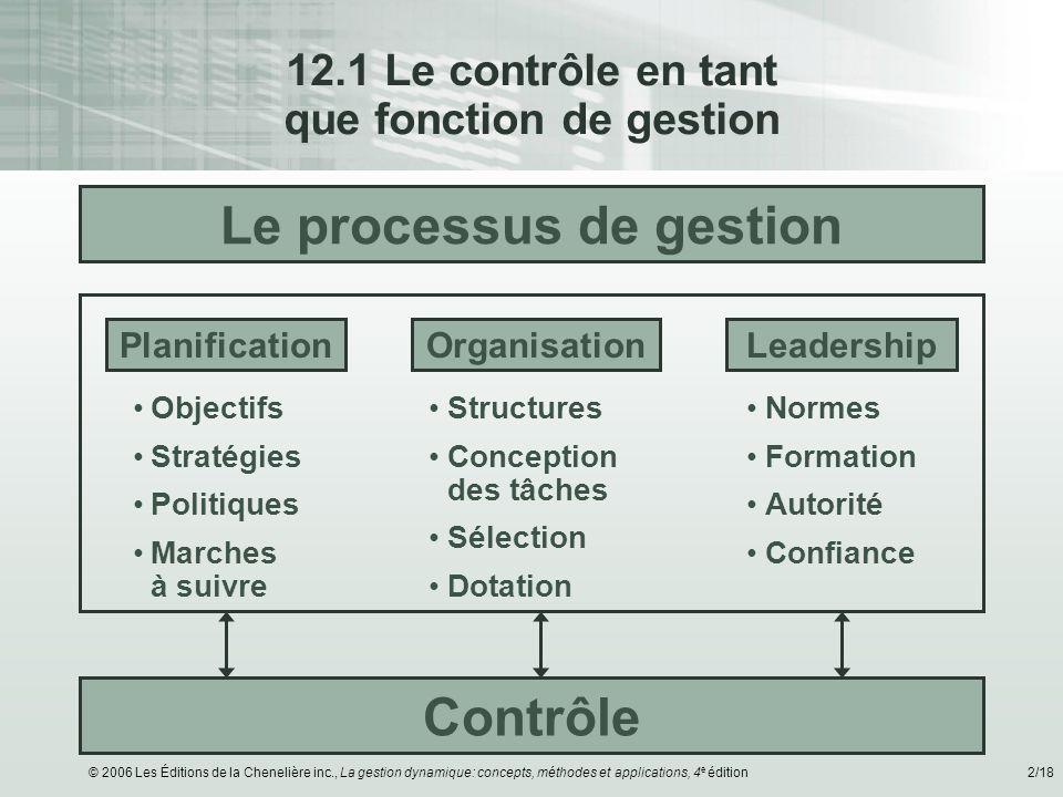 © 2006 Les Éditions de la Chenelière inc., La gestion dynamique: concepts, méthodes et applications, 4 e édition2/18 12.1 Le contrôle en tant que fonc