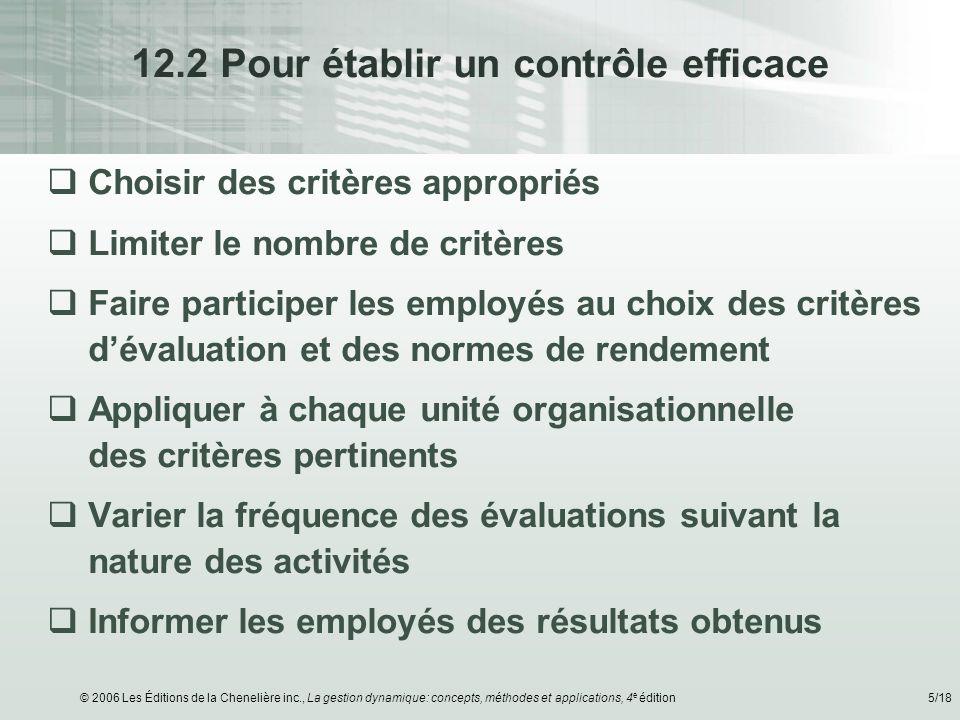 © 2006 Les Éditions de la Chenelière inc., La gestion dynamique: concepts, méthodes et applications, 4 e édition5/18 12.2 Pour établir un contrôle eff