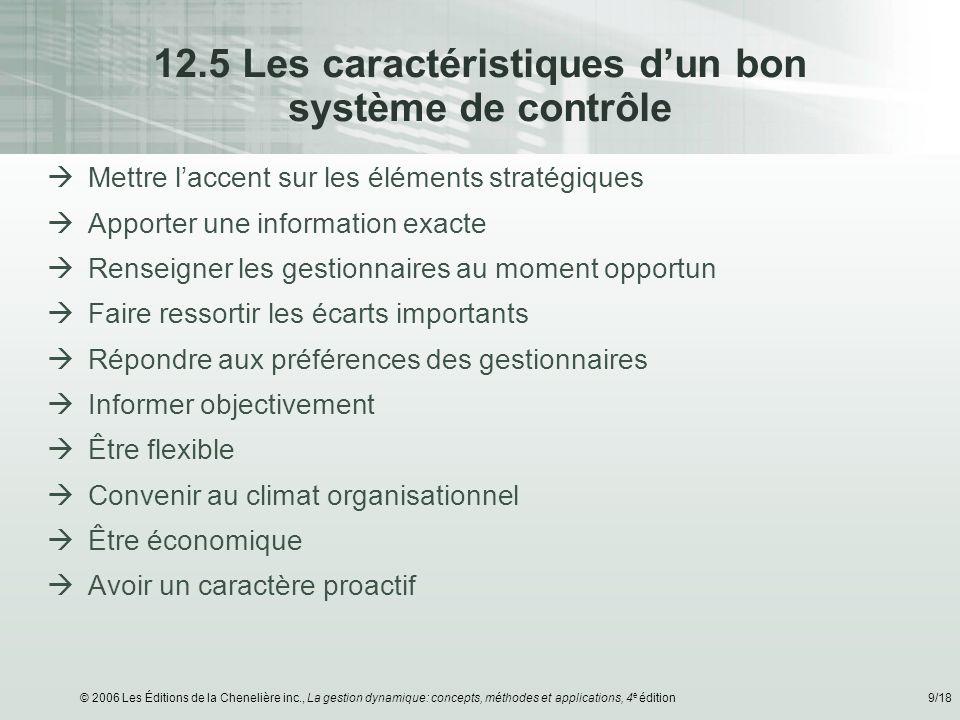 © 2006 Les Éditions de la Chenelière inc., La gestion dynamique: concepts, méthodes et applications, 4 e édition9/18 12.5 Les caractéristiques dun bon