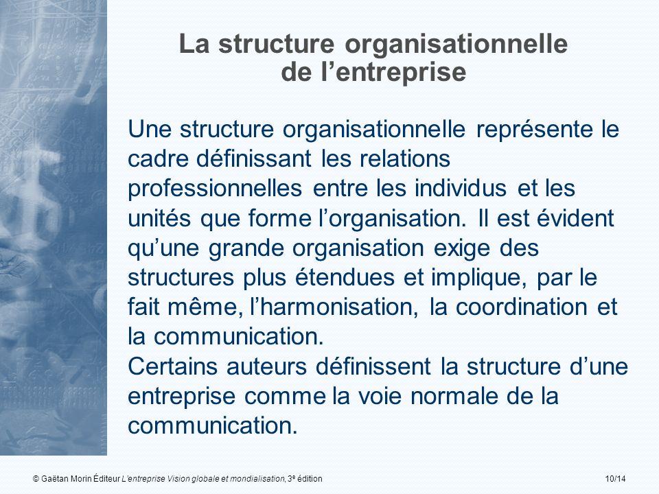 © Gaëtan Morin Éditeur Lentreprise Vision globale et mondialisation, 3 e édition10/14 La structure organisationnelle de lentreprise Une structure orga