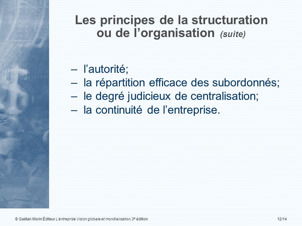 © Gaëtan Morin Éditeur Lentreprise Vision globale et mondialisation, 3 e édition12/14 Les principes de la structuration ou de lorganisation (suite) –l
