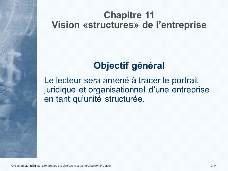 © Gaëtan Morin Éditeur Lentreprise Vision globale et mondialisation, 3 e édition2/14 Chapitre 11 Vision «structures» de lentreprise Objectif général L