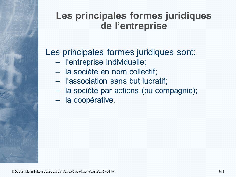 © Gaëtan Morin Éditeur Lentreprise Vision globale et mondialisation, 3 e édition3/14 Les principales formes juridiques de lentreprise Les principales