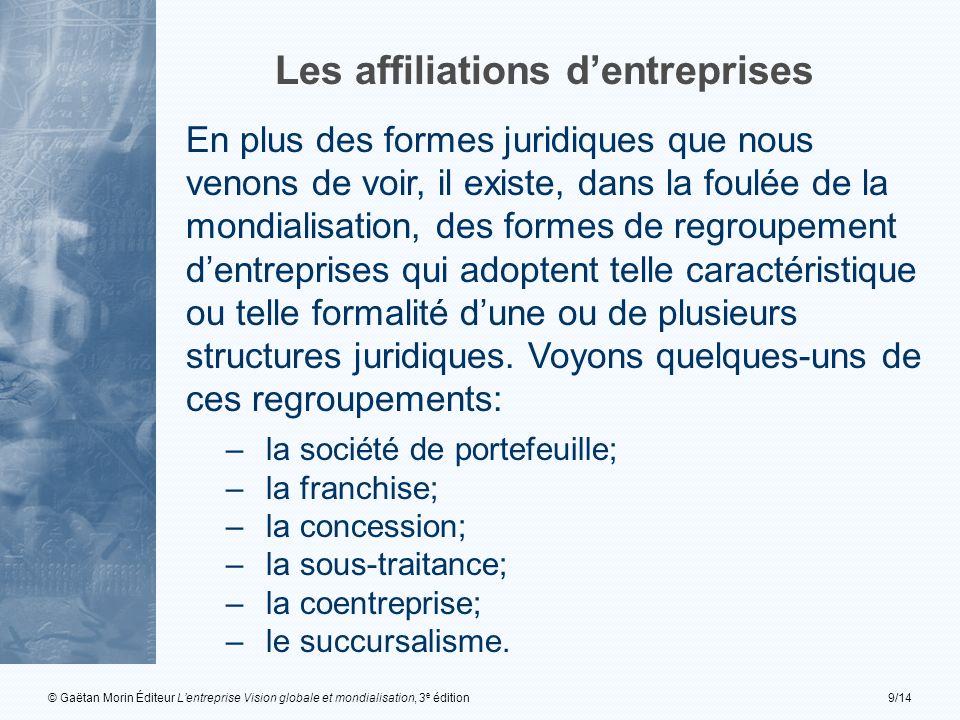 © Gaëtan Morin Éditeur Lentreprise Vision globale et mondialisation, 3 e édition9/14 Les affiliations dentreprises En plus des formes juridiques que n
