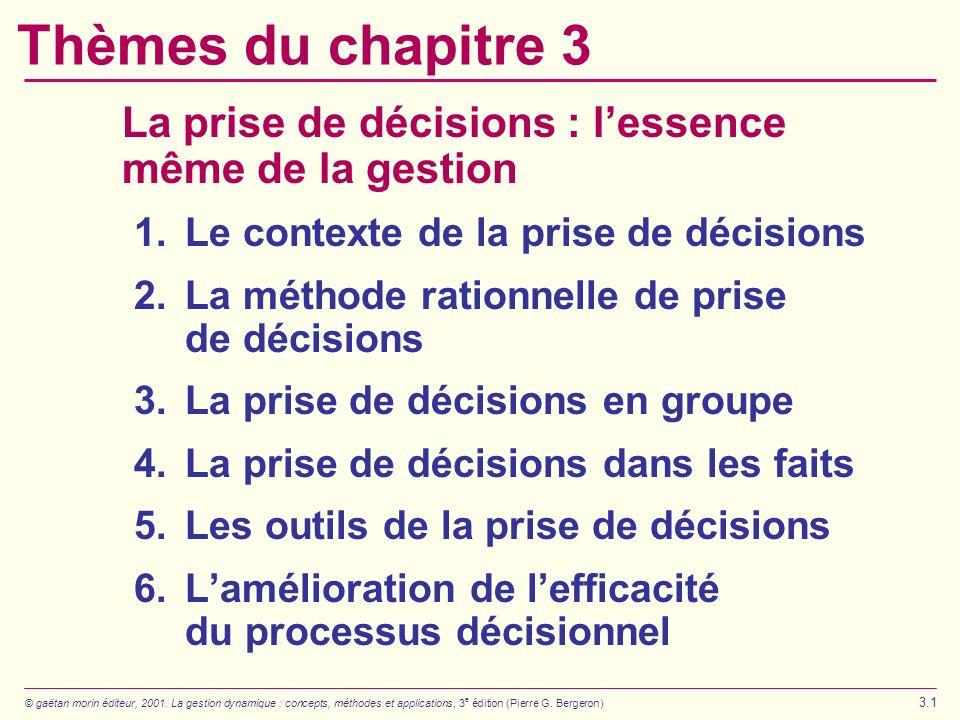 © gaëtan morin éditeur, 2001. La gestion dynamique : concepts, méthodes et applications, 3 e édition (Pierre G. Bergeron) 3.1 Thèmes du chapitre 3 La