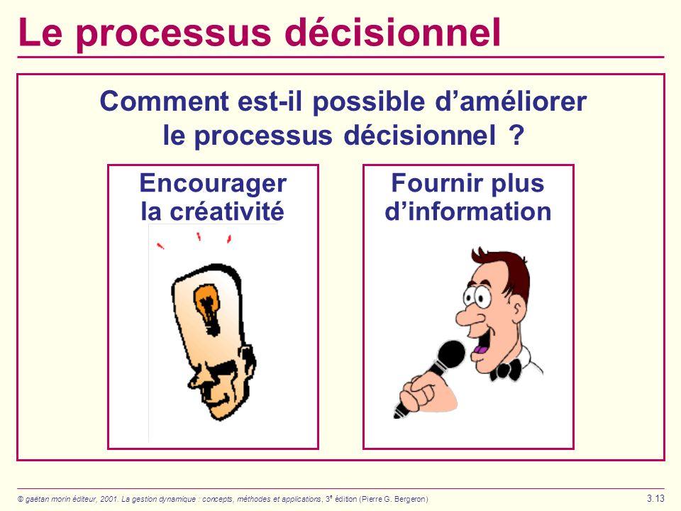 © gaëtan morin éditeur, 2001. La gestion dynamique : concepts, méthodes et applications, 3 e édition (Pierre G. Bergeron) 3.13 Le processus décisionne
