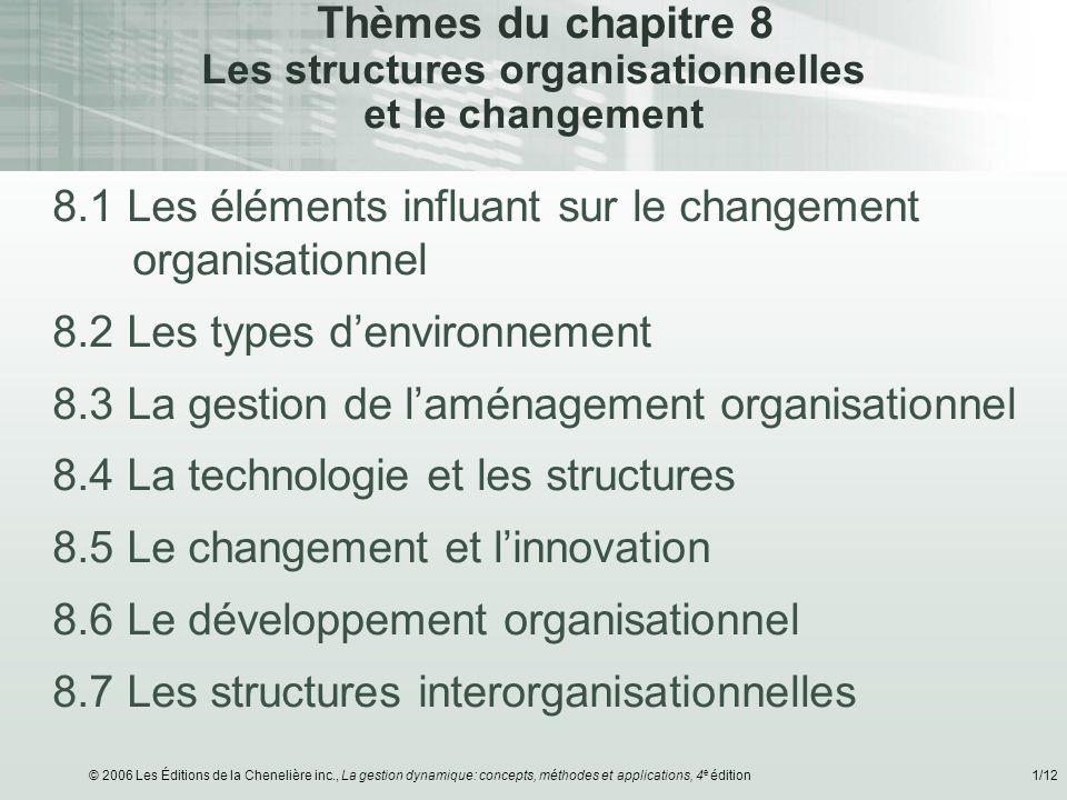 © 2006 Les Éditions de la Chenelière inc., La gestion dynamique: concepts, méthodes et applications, 4 e édition1/12 Thèmes du chapitre 8 Les structur