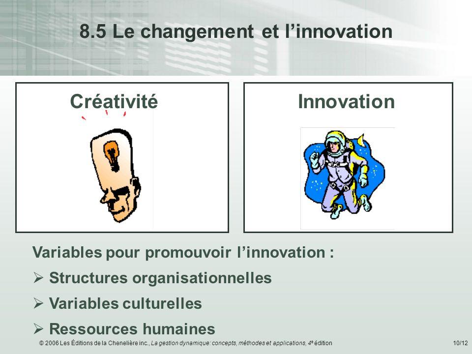 © 2006 Les Éditions de la Chenelière inc., La gestion dynamique: concepts, méthodes et applications, 4 e édition10/12 8.5 Le changement et linnovation