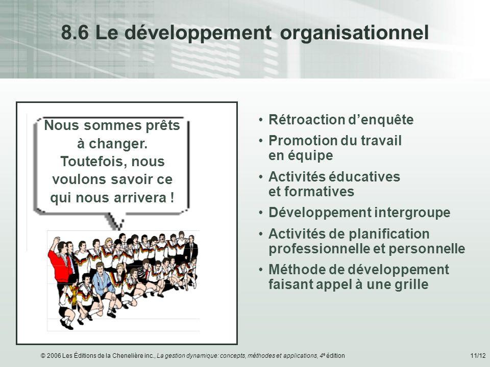 © 2006 Les Éditions de la Chenelière inc., La gestion dynamique: concepts, méthodes et applications, 4 e édition11/12 8.6 Le développement organisatio