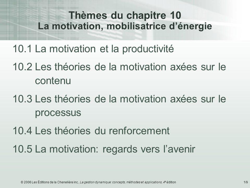 © 2006 Les Éditions de la Chenelière inc., La gestion dynamique: concepts, méthodes et applications, 4 e édition1/9 Thèmes du chapitre 10 La motivatio