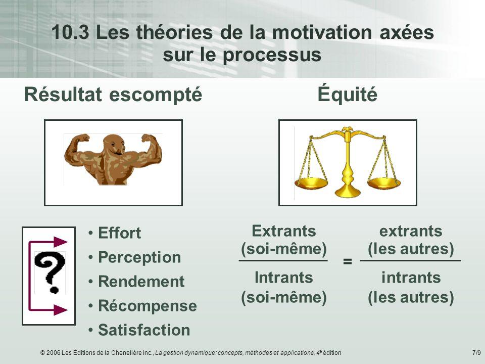© 2006 Les Éditions de la Chenelière inc., La gestion dynamique: concepts, méthodes et applications, 4 e édition7/9 10.3 Les théories de la motivation