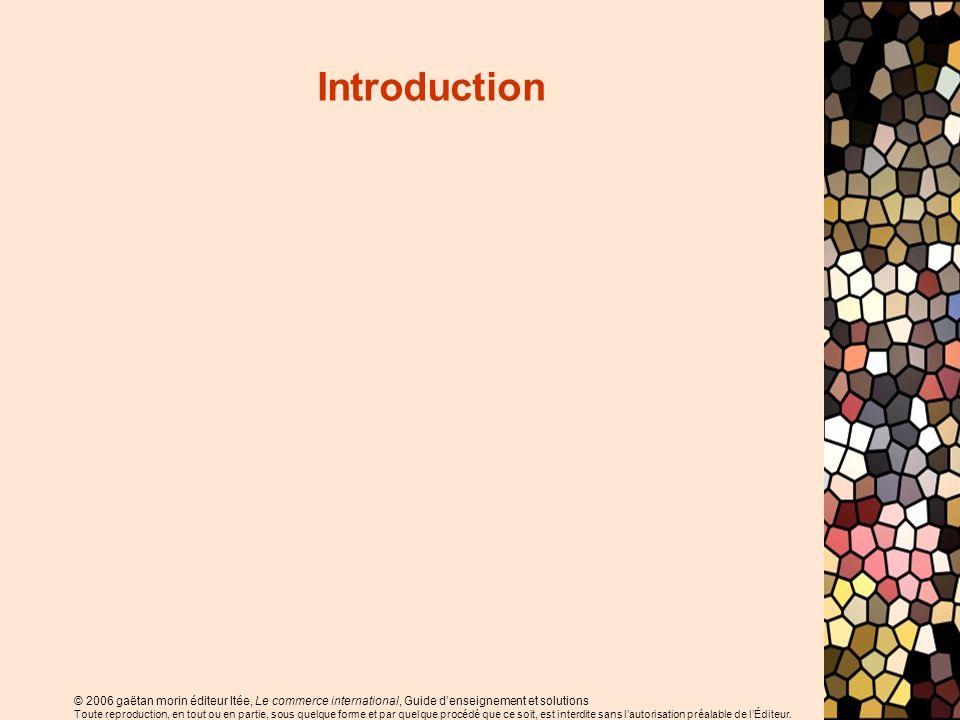 © 2006 gaëtan morin éditeur ltée, Le commerce international, Guide denseignement et solutions Toute reproduction, en tout ou en partie, sous quelque forme et par quelque procédé que ce soit, est interdite sans lautorisation préalable de lÉditeur.