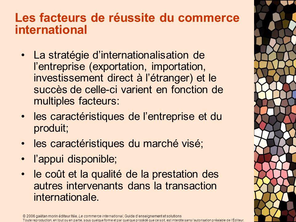 © 2006 gaëtan morin éditeur ltée, Le commerce international, Guide denseignement et solutions Toute reproduction, en tout ou en partie, sous quelque f