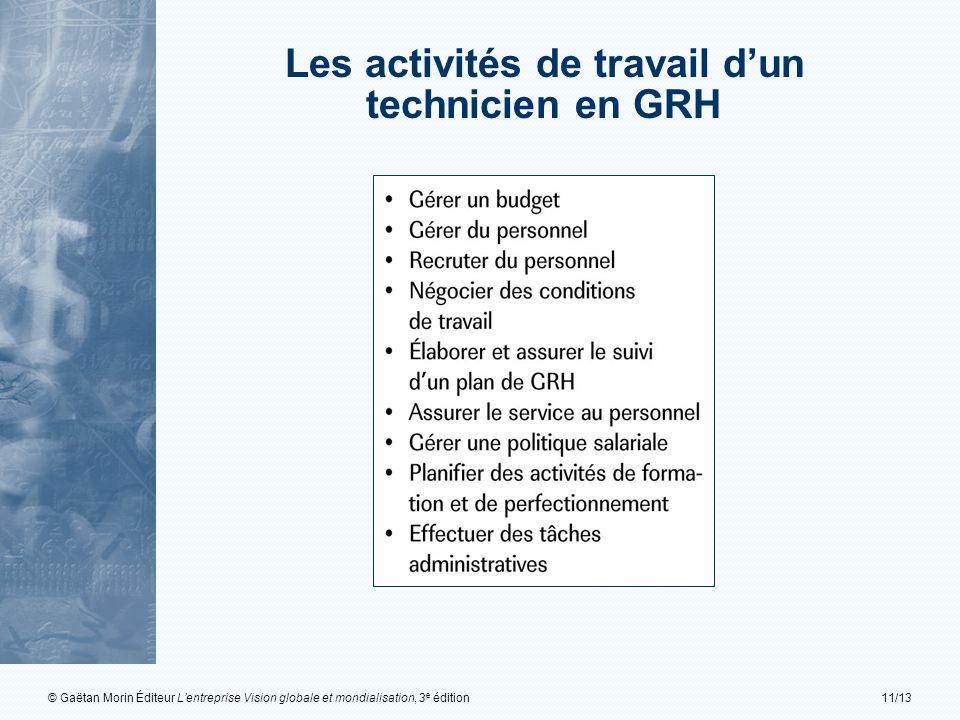 © Gaëtan Morin Éditeur Lentreprise Vision globale et mondialisation, 3 e édition11/13 Les activités de travail dun technicien en GRH