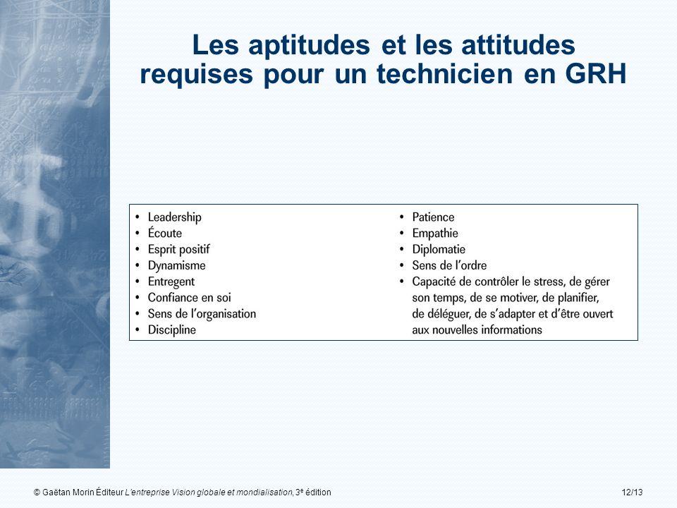 © Gaëtan Morin Éditeur Lentreprise Vision globale et mondialisation, 3 e édition12/13 Les aptitudes et les attitudes requises pour un technicien en GR
