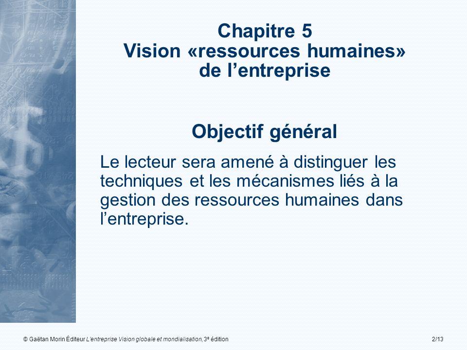 © Gaëtan Morin Éditeur Lentreprise Vision globale et mondialisation, 3 e édition2/13 Chapitre 5 Vision «ressources humaines» de lentreprise Objectif g