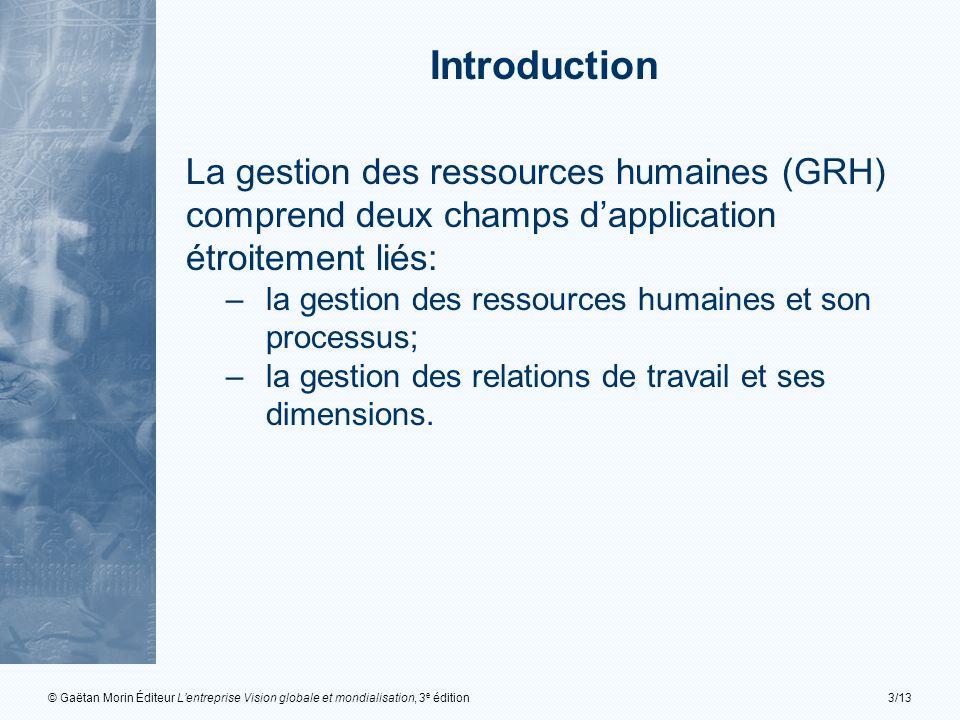 © Gaëtan Morin Éditeur Lentreprise Vision globale et mondialisation, 3 e édition3/13 La gestion des ressources humaines (GRH) comprend deux champs dap