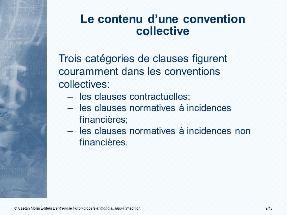 © Gaëtan Morin Éditeur Lentreprise Vision globale et mondialisation, 3 e édition9/13 Trois catégories de clauses figurent couramment dans les conventi