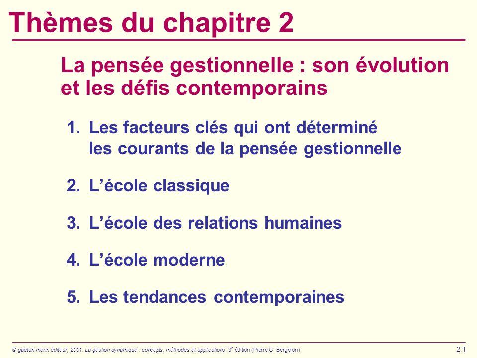 © gaëtan morin éditeur, 2001. La gestion dynamique : concepts, méthodes et applications, 3 e édition (Pierre G. Bergeron) 2.1 Thèmes du chapitre 2 La