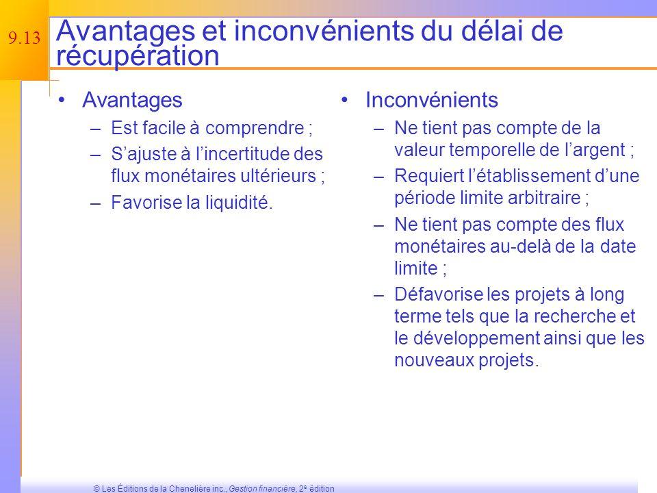 9.12 © Les Éditions de la Chenelière inc., Gestion financière, 2 e édition Le délai de récupération est-il un bon critère de décision .