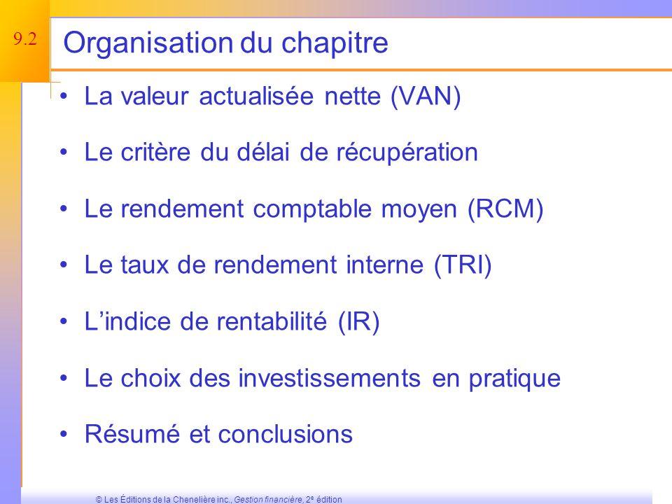 9.42 © Les Éditions de la Chenelière inc., Gestion financière, 2 e édition Résumé et conclusions (suite) Indice de rentabilité –Ratio Bénéfice / Coût –Accepte le projet si IR > 1.