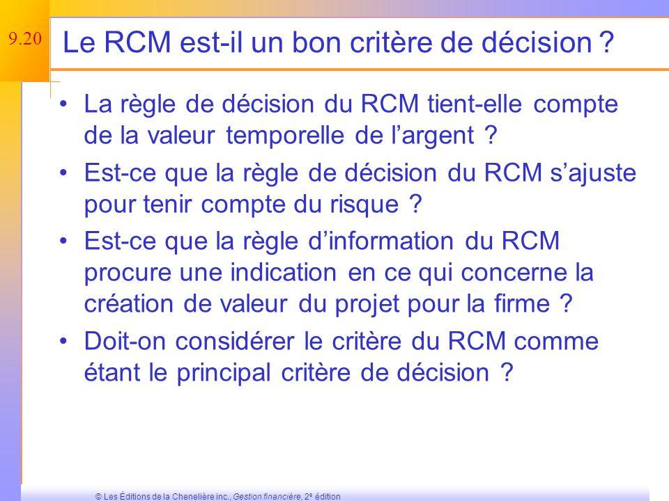 9.19 © Les Éditions de la Chenelière inc., Gestion financière, 2 e édition Calcul du RCM pour le projet présenté précédemment Faites lhypothèse que nous exigeons un RCM minimal de 25 %.