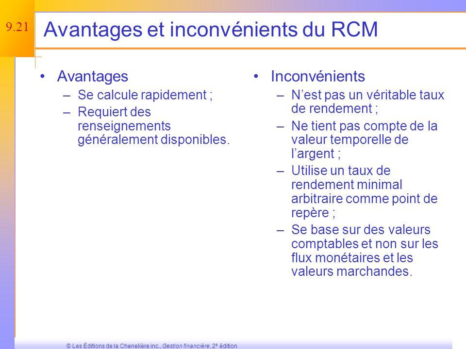 9.20 © Les Éditions de la Chenelière inc., Gestion financière, 2 e édition Le RCM est-il un bon critère de décision .