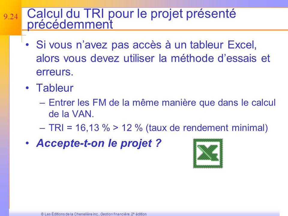 9.23 © Les Éditions de la Chenelière inc., Gestion financière, 2 e édition TRI – Définition et règle de décision Définition : Taux dactualisation pour lequel la VAN est nulle.