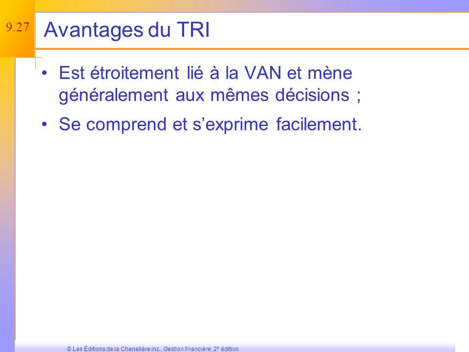 9.26 © Les Éditions de la Chenelière inc., Gestion financière, 2 e édition Le TRI est-il un bon critère de décision .