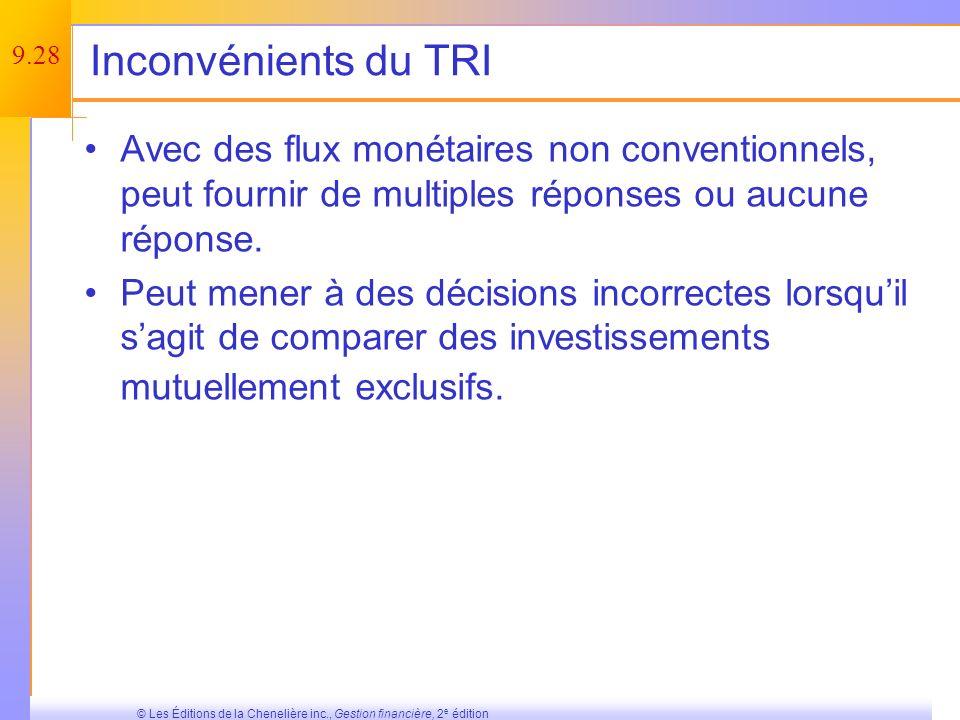 9.27 © Les Éditions de la Chenelière inc., Gestion financière, 2 e édition Avantages du TRI Est étroitement lié à la VAN et mène généralement aux mêmes décisions ; Se comprend et sexprime facilement.