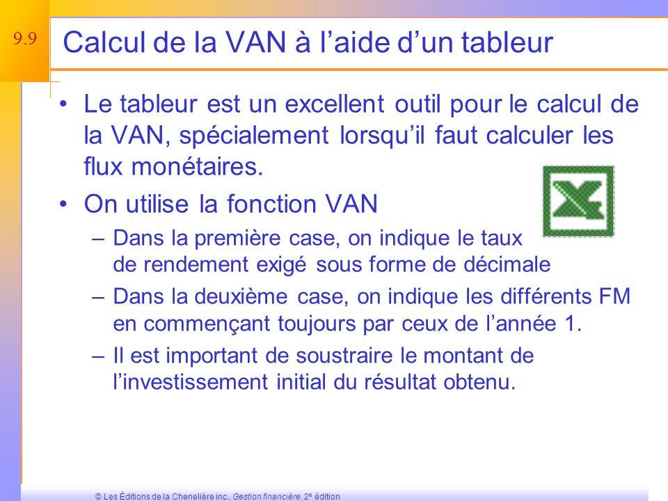 9.8 © Les Éditions de la Chenelière inc., Gestion financière, 2 e édition La VAN est-elle un bon critère de décision .