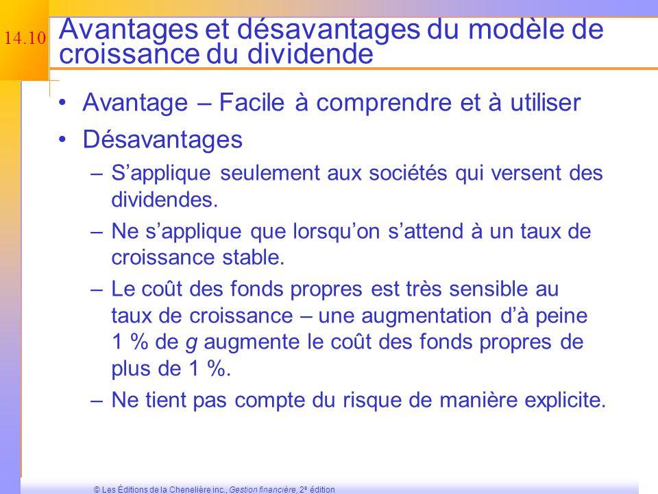 14.9 © Les Éditions de la Chenelière inc., Gestion financière, 2 e édition Approche alternative pour estimer le taux de croissance Si la compagnie a u