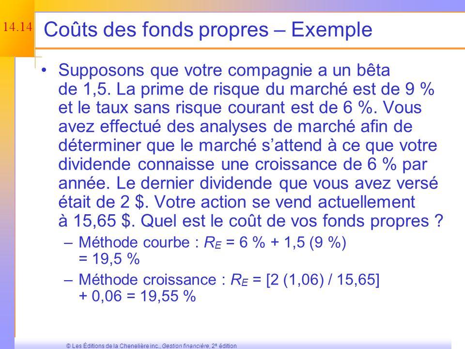 14.13 © Les Éditions de la Chenelière inc., Gestion financière, 2 e édition Avantages et désavantages de lapproche reliée à la courbe risque-rendement